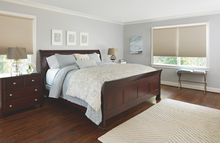 Beige shades in a Cincinnati bedroom.