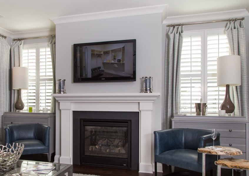 living room Cincinnati faux wood shutters
