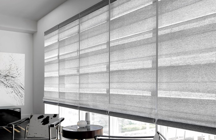 Light gray shades covering large business window