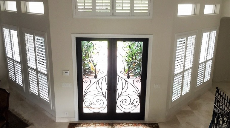 Cincinnati entryway white shutters