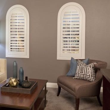 Cincinnati family room interior shutters.