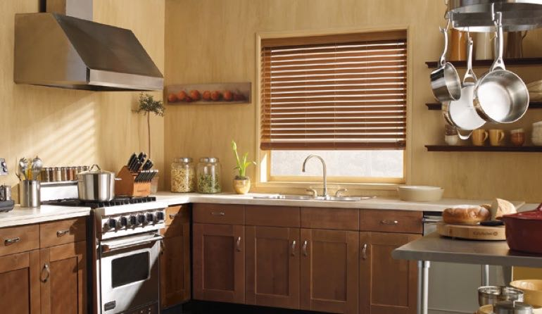 Cincinnati kitchen faux wood blinds.