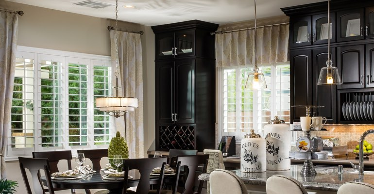 Cincinnati kitchen dining room with plantation shutters.