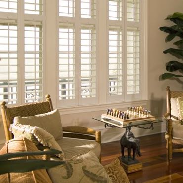 Cincinnati living room plantation shutters.