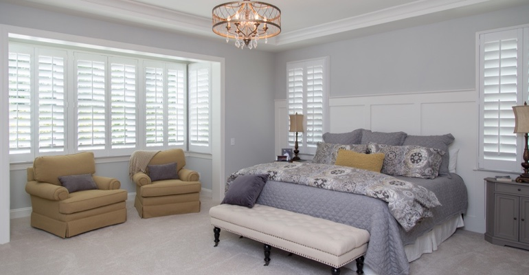 White shutters in Cincinnati bedroom.