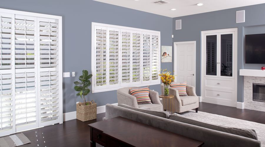 Faux Wood Shutters In modern Cincinnati Living Room