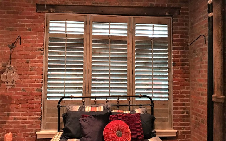 repurposed wood shutters in Cincinnati bedroom