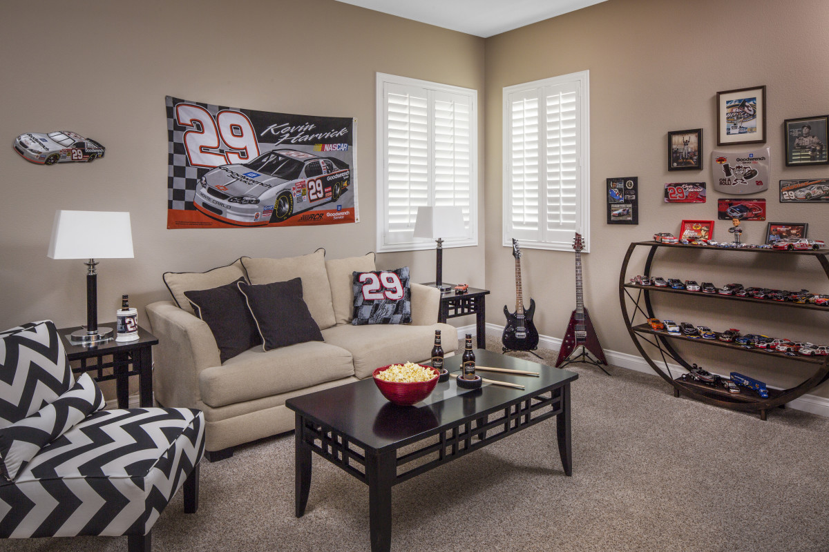 Cincinnati man cave with shutters