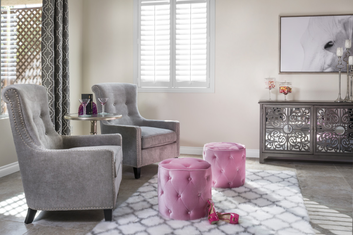 Cincinnati pink living room with shutters