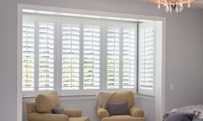 White shutters in Cincinnati bay window