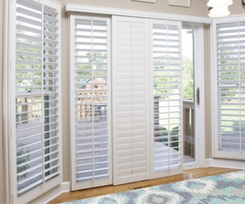 [Polywood|Plantation|Interior ]211] shutters on a sliding glass door in Cincinnati