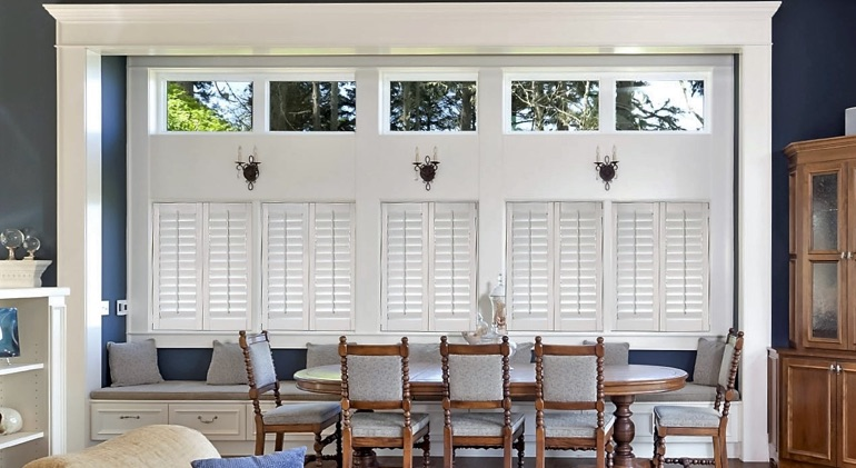 Cincinnati dining room with Studio plantation shutters.