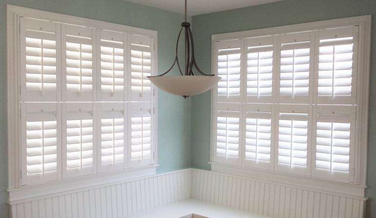 Cincinnati white shutters in booth