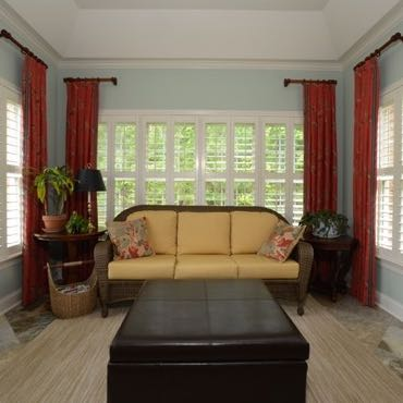 Cincinnati sunroom interior shutters.