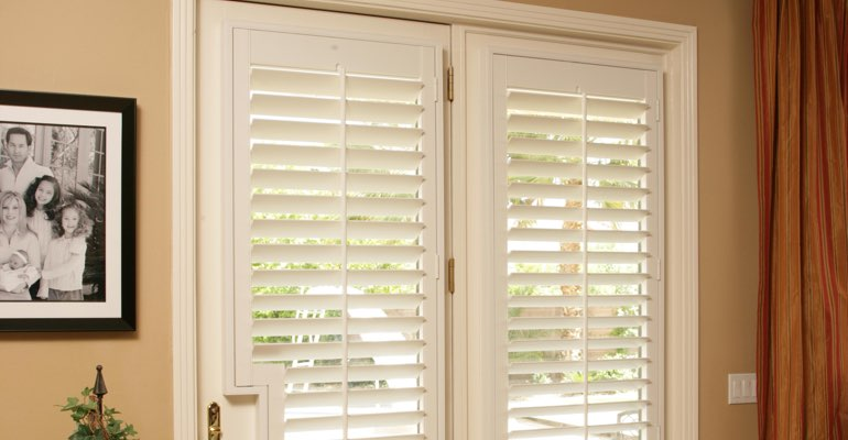 Cincinnati french door plantation shutters