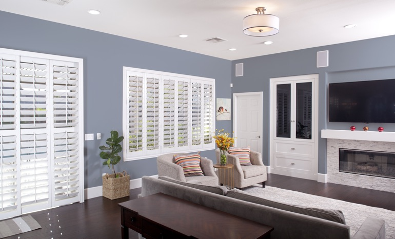 Plantation Shutters In A Cincinnati Living Room.