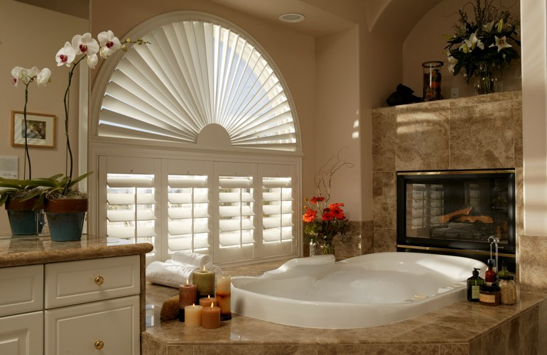 Our Professionals Installed Shutters On A Sunburst Arch Window In Cincinnati, OH