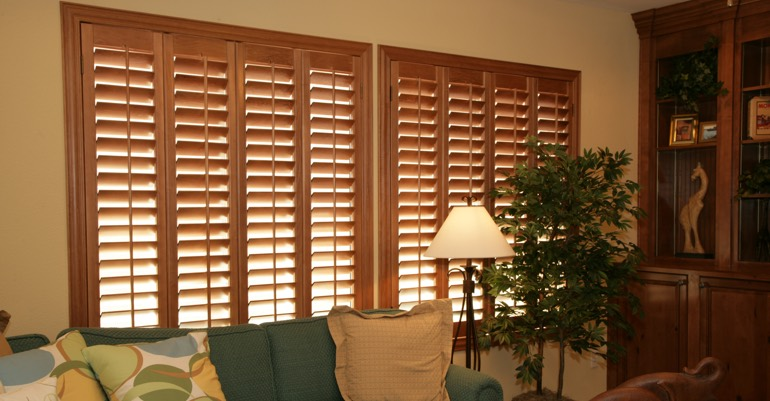 Natural wood shutters in Cincinnati living room.