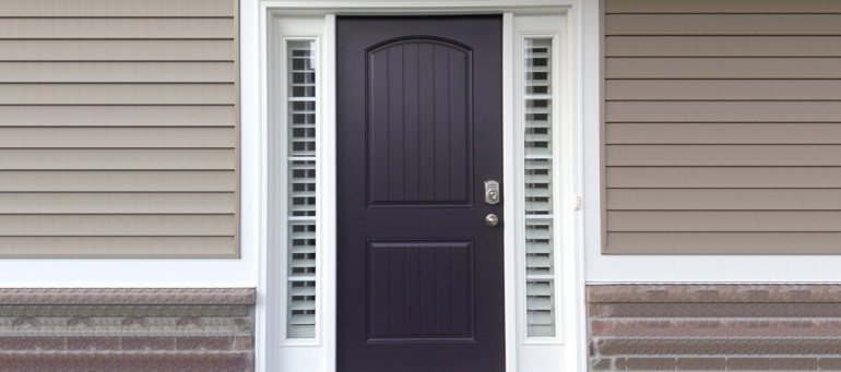 Sidelight Shutters On Black Door In Cincinnati, OH